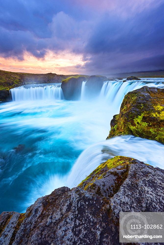 Waterfall, Godafoss, Sunset, Cliff, River, Iceland, Europe