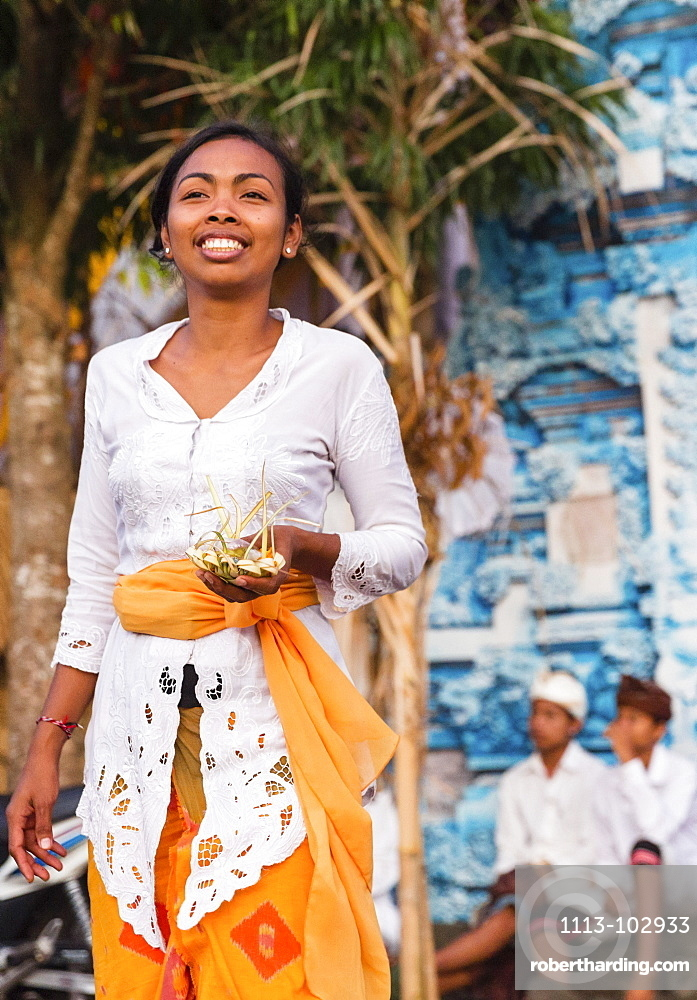 Balinese People At Odalan Temple Stock Photo