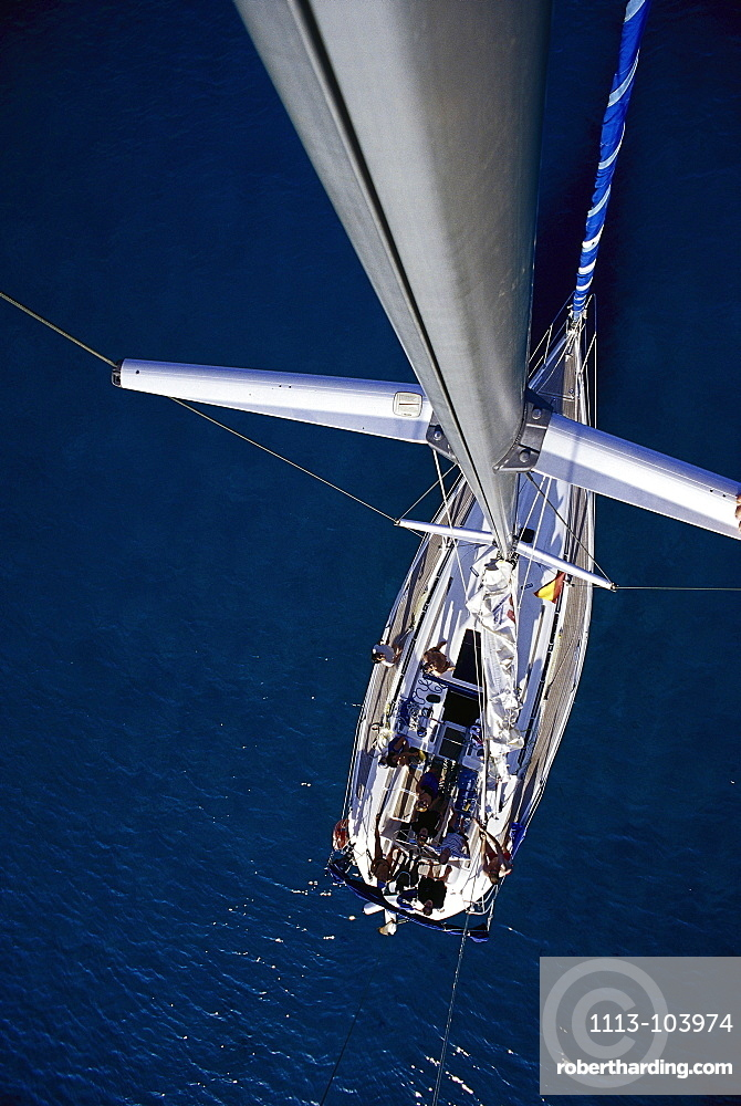 View from the top of a mast, Sailing boat, Mallorca, Spain