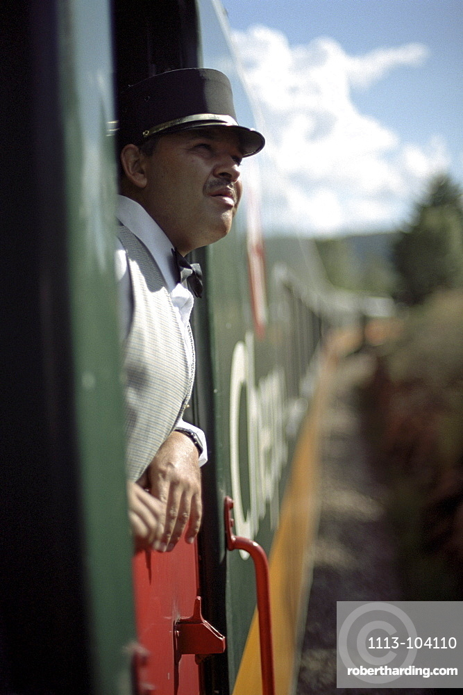 A conductor looking out of the window, Ferrocarril Chihuahua al Pacifico, Chihuahua express, Mexico, America