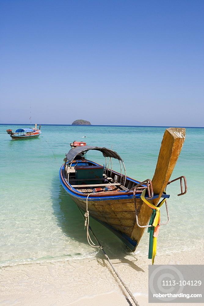 Longtail Boat on Ko Lipe Beach, Ko Lipe, Tarutao Marine National Park, Thailand