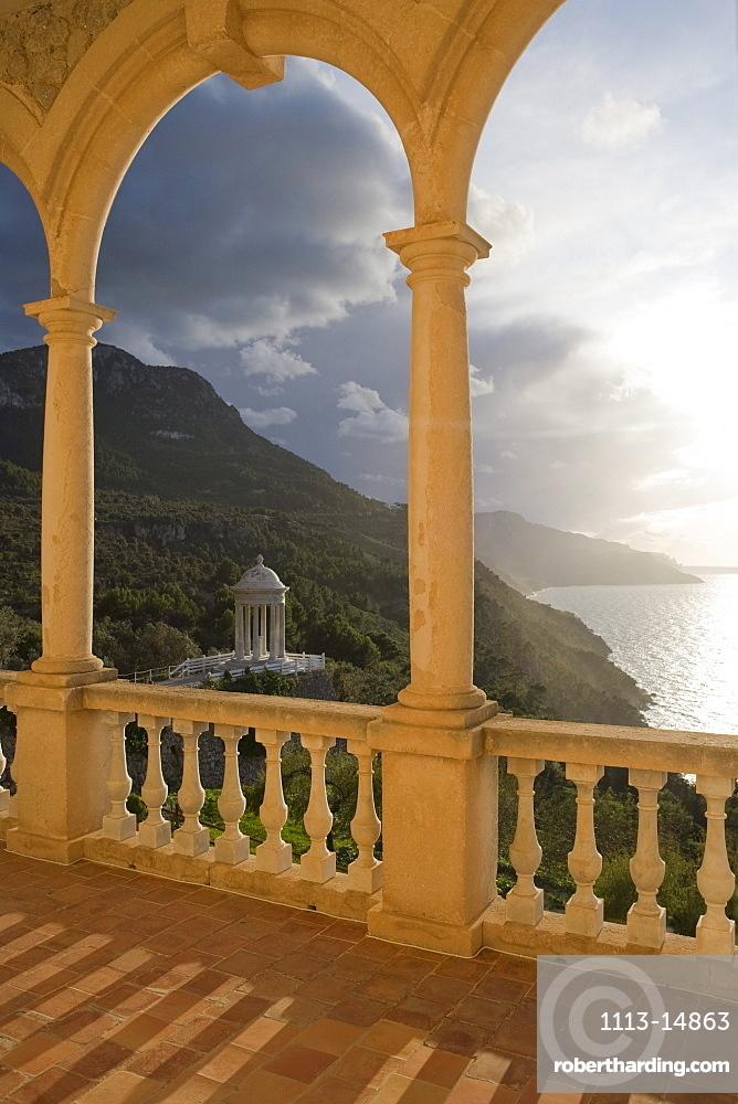 Terrace of Son Marroig Mansion & Gazebo at Sunset, near Deia, Mallorca, Balearic Islands, Spain, Europe