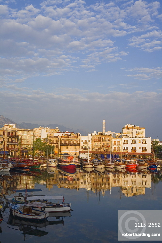 Kyrenia harbour, Reflection in the water, Kyrenia, Girne, North Cyprus, Cyprus