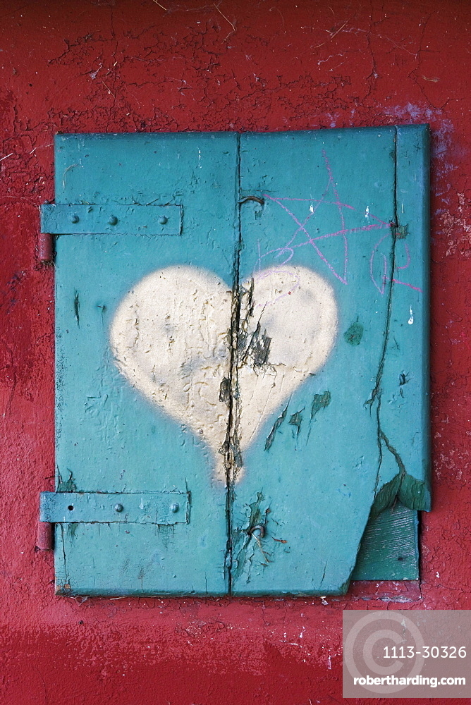 Wooden shutter, San Quirico d'Orcia, Tuscany, Italy