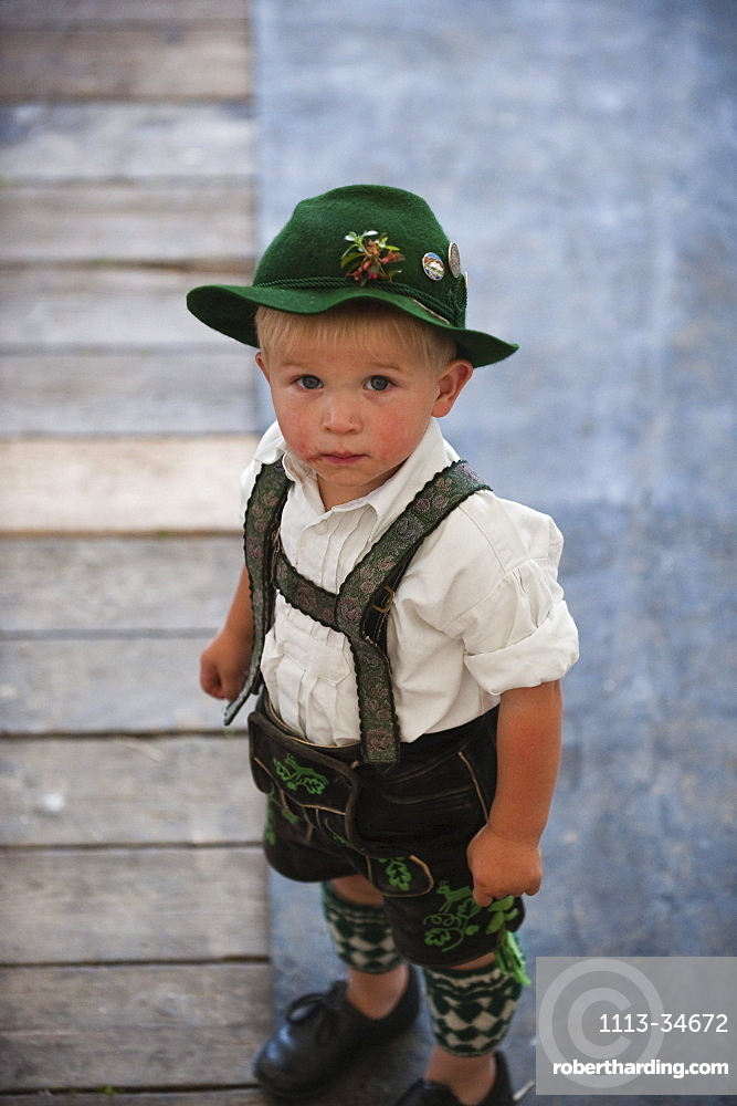 Boy wearing traditional costume, Alpine Finger Wrestling Championship, Antdorf, Upper Bavaria, Germany