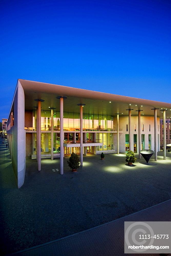 Illuminated concert hall in the evening, Freiburg im Breisgau, Baden-Wuerttemberg, Germany, Europe