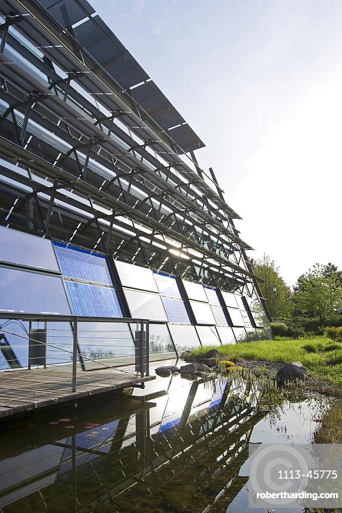 Factory building with solar installation, Freiburg im Breisgau, Baden-Wuerttemberg, Germany, Europe