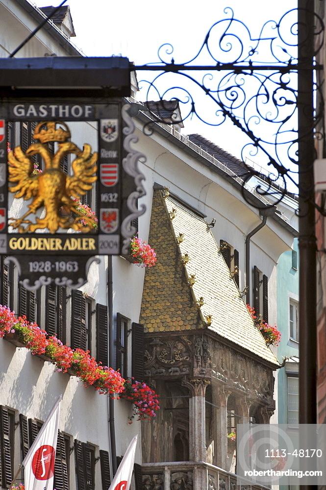 Goldener Adler hotel with golden Dacherl, old town of Innsbruck, Tyrol, Austria, Europe