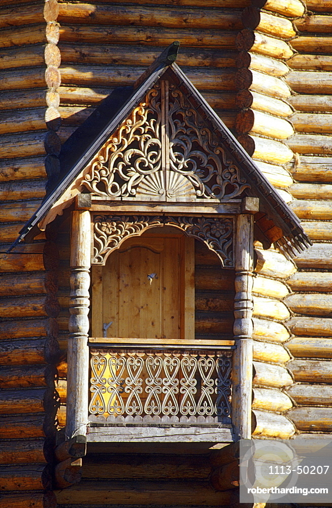 Wooden balcony with carvings at Ismailowo Park, Moscow, Russia, Europe