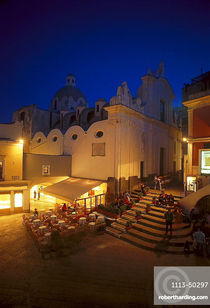People on the main square in the evening, Piazetta Umberto I, Capri, Campania, Italy
