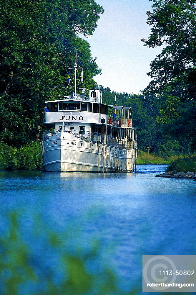 Passenger steamboat Juno, Gota Canal, Motala Oestergoetland, Sweden