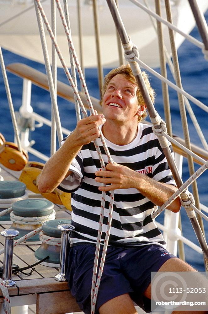 Setting the sails, Royal Clipper Sailing ship, Caribbean