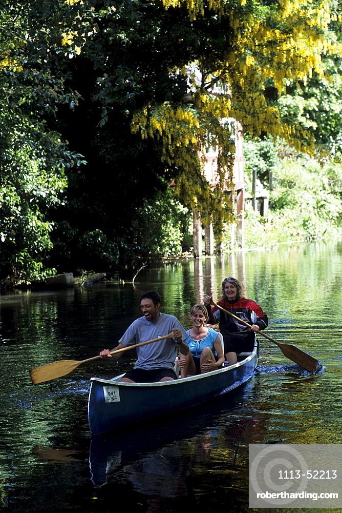 Canoe on Odense River, Paddling through the Park, Odense, Funen, Denmark