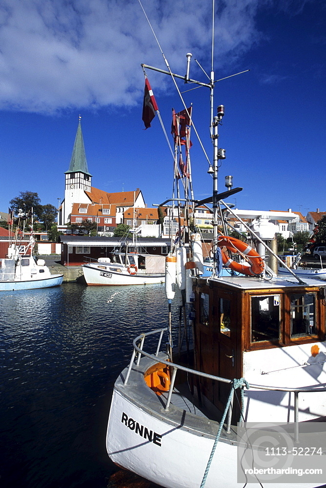 Fishing Boats in Ronne, Sankt Nicolai Kirke Church, Ronne, Bornholm, Denmark