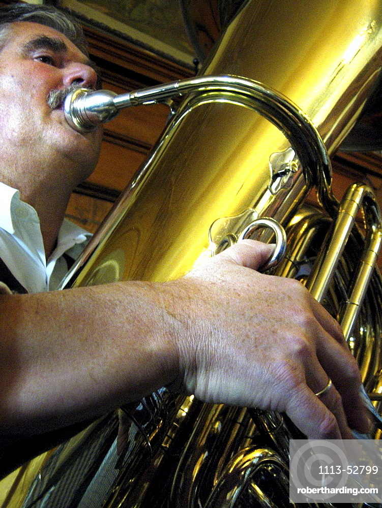 Wind section of the Krinoliner Blaskapelle brass band, Fraunhofer Restaurant, Fraunhofer Street, Munich, Bavaria, Germany