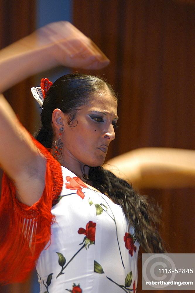 A woman dancing Flamenco, World Flamenco Fair, Seville, Andalucia, Spain, Europe