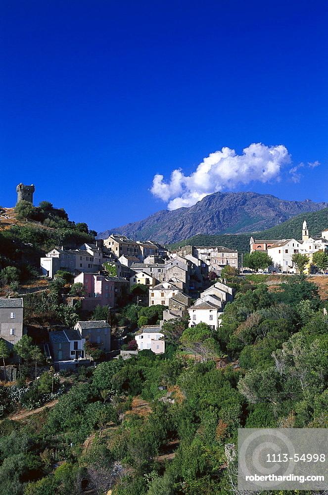 Village, watchtower, Nonza, Cap Corse, Corsica, France