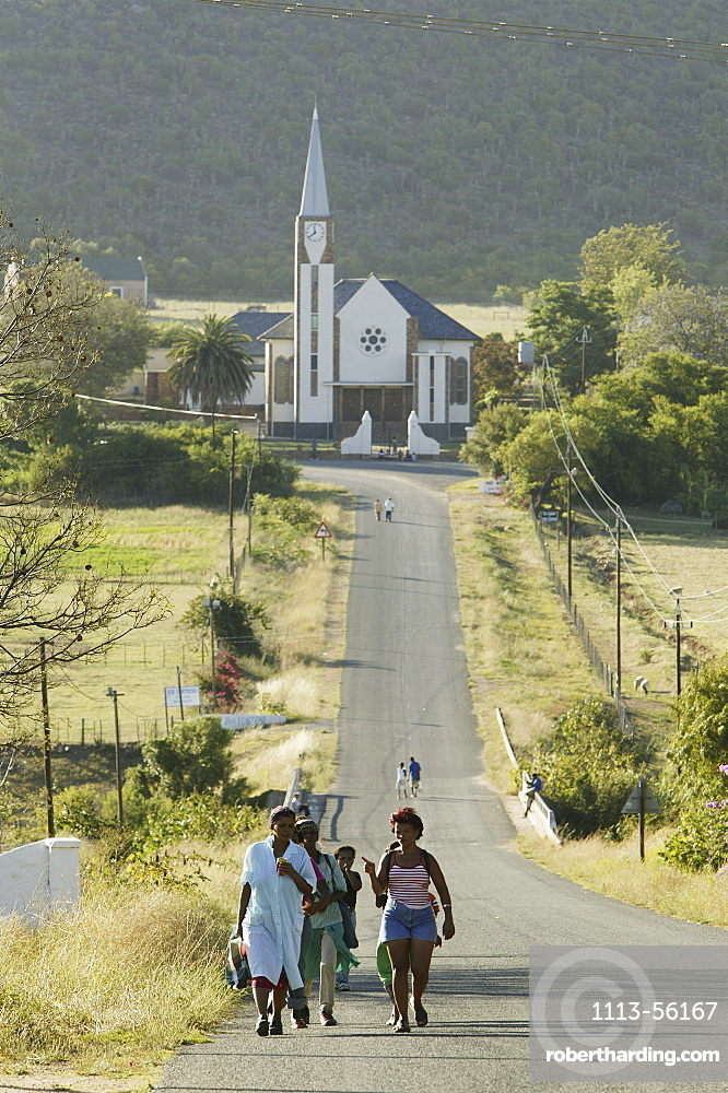 Village of Shoemanshoek, Church in the background, Little Karoo, Western Cape, South Africa, Africa