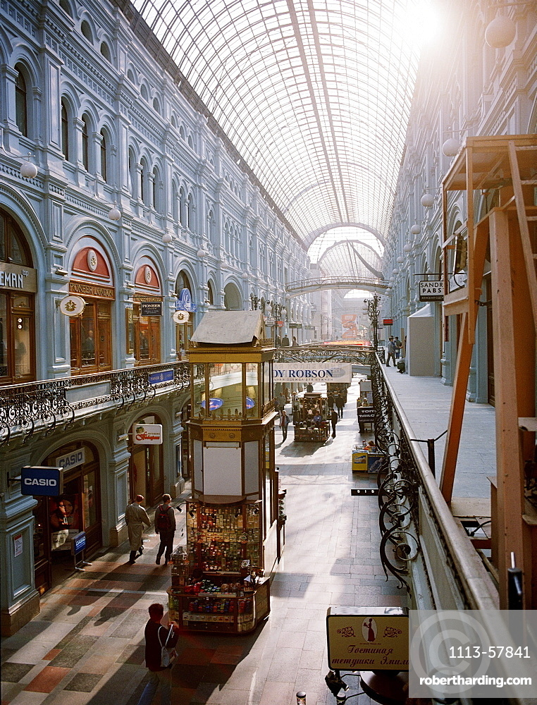 View at the shopping arcades of the Main Department Store GUM, Red Square, Moscow, Russia