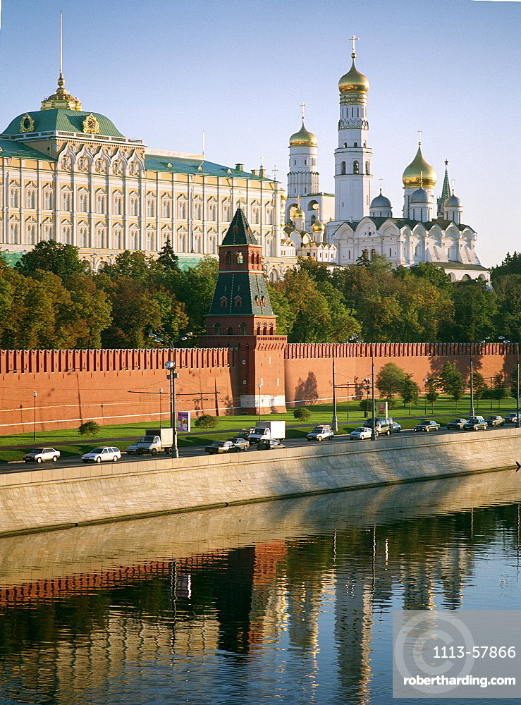 The Kremlin reflecting in Moskva River, Moscow, Russia