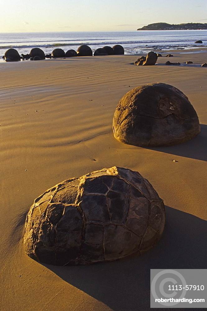 Moeraki boulders on the beach in the sunlight, South Island, New Zealand, Oceania