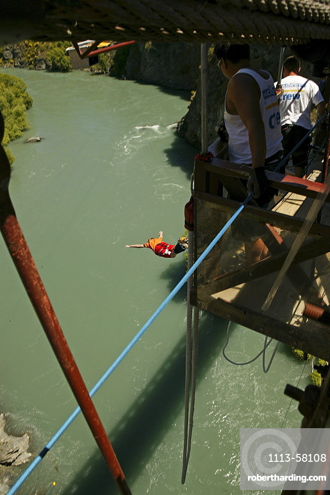 People Bungee jumping above Kawarau River, Otago, South Island, New Zealand, Oceania