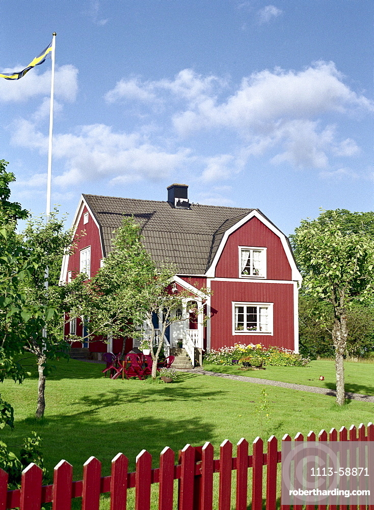 Typical wooden house in the sunlight, Smaland, Sweden, Europe