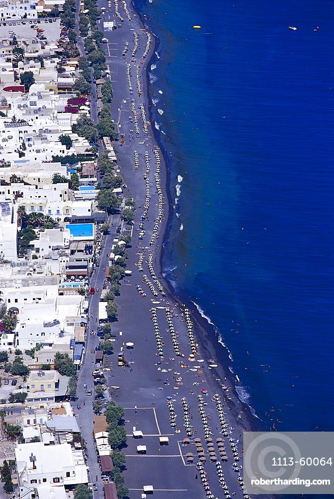 High angle view at Kamari Beach, Santorin, Cyclades, Greece, Europe
