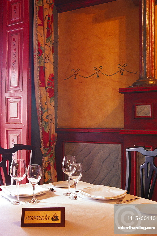 A table is laid at the Restaurant Fatima, Valladolid, Castilla, Spain, Europe
