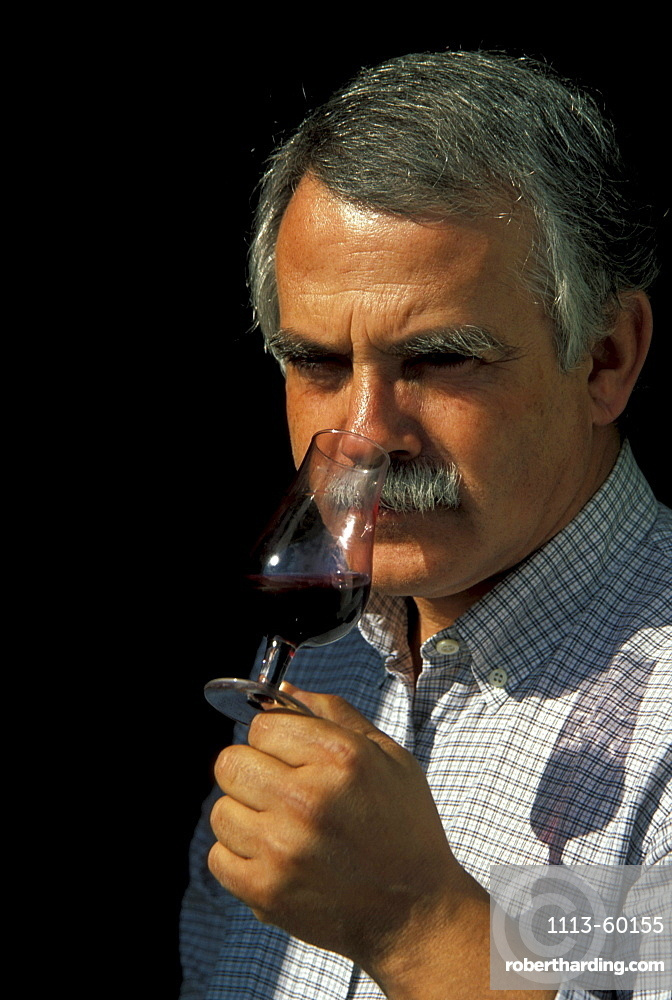 Man smelling wine, Douro Valley, Portugal