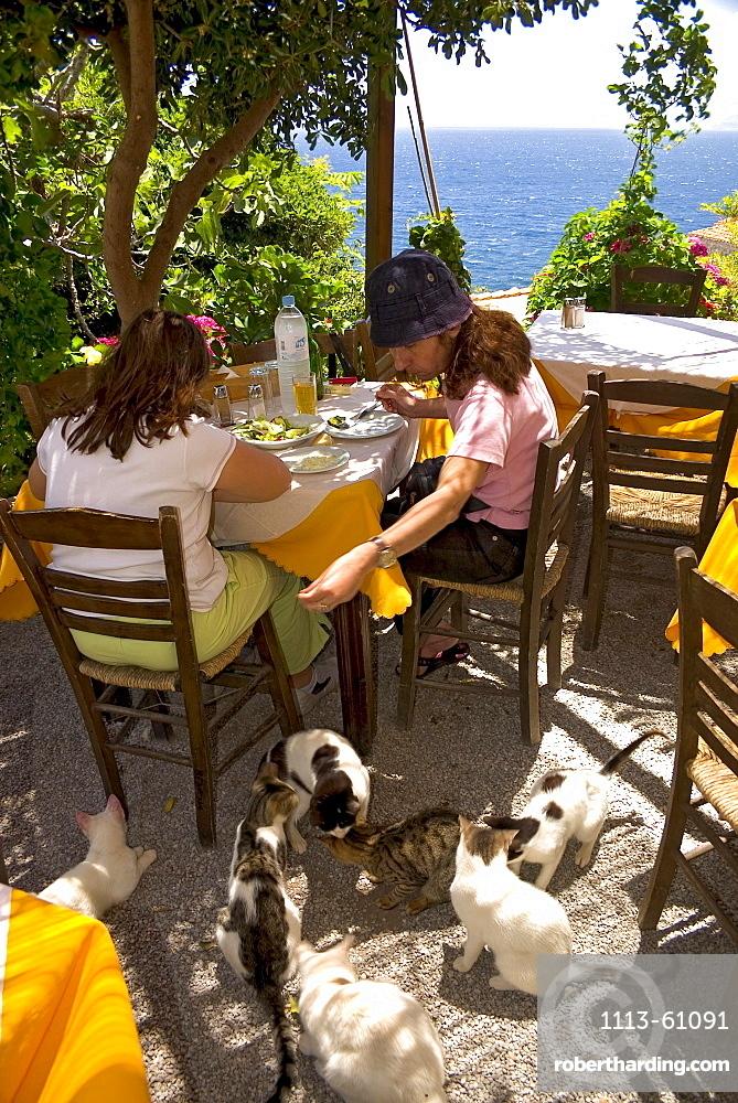 Restaurant in the medieval village Monemvasia, Lakonia, Peloponnese, Greece