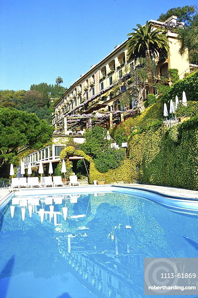 Hotel Splendido with pool in the sunlight, Portofino, Liguria, Italy, Europe