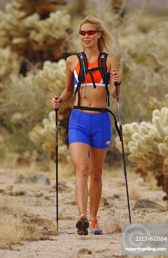 Woman nordic walking, Apache Trail, Arizona, USA