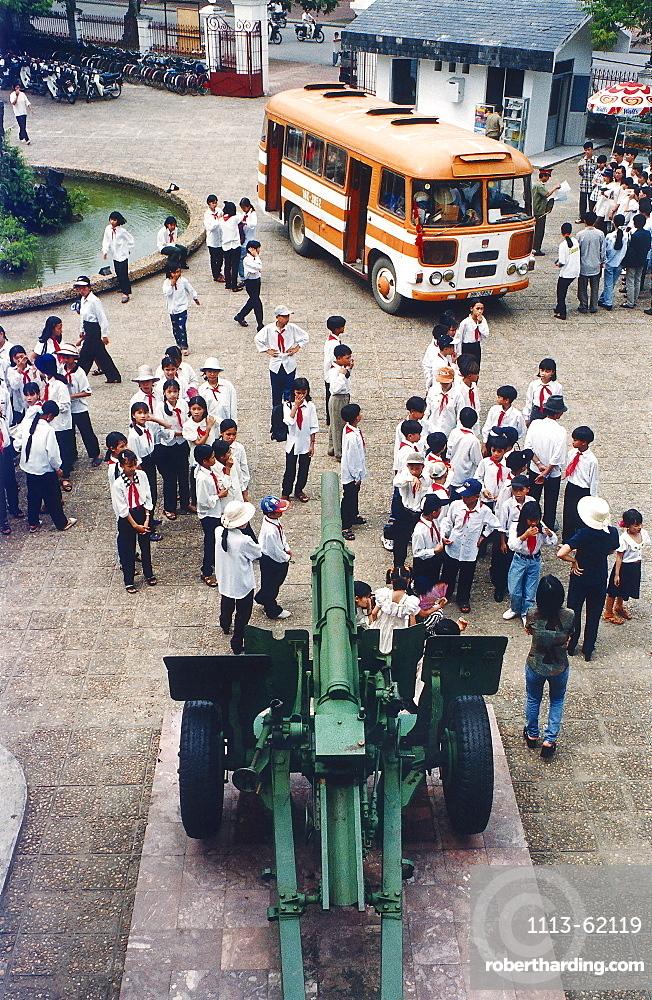School class visiting the Army Museum, school uniform, Hanoi, Vietnam