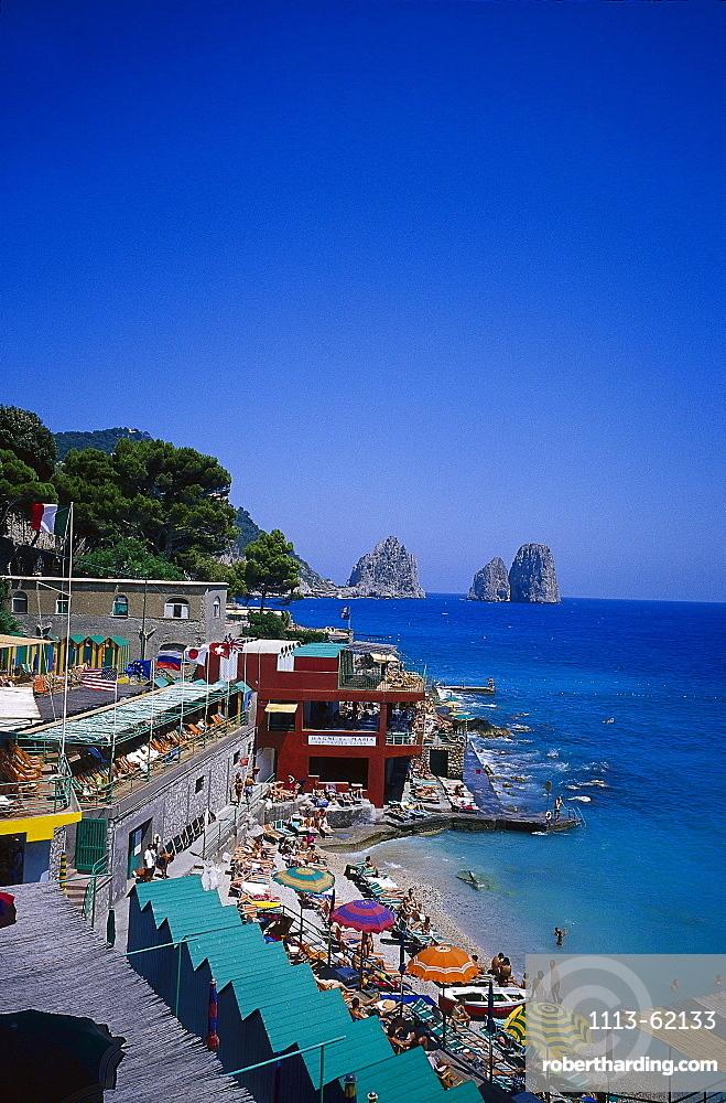 View at people on the beach under blue sky, Bagni Internazionali, Marina Piccola, Capri, Italy, Europe