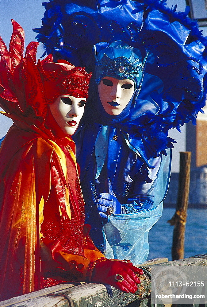 Masked people in disguise at carnival, Venice, Italy, Europe