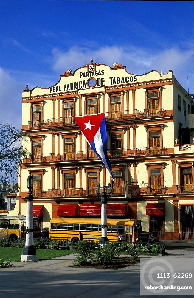 Flag in front of cigar factory Patargas, Havana, Cuba, Caribbean, America