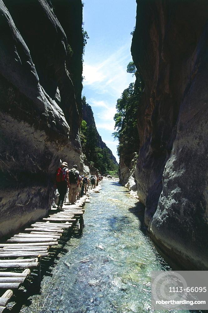 Hikers at Iron Gate, Samaria Gorge, Crete, Greece
