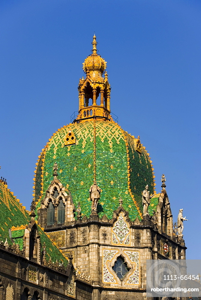 Coloured dome and roof of the Museum of Applied Arts, Pest, Budapest, Hungary