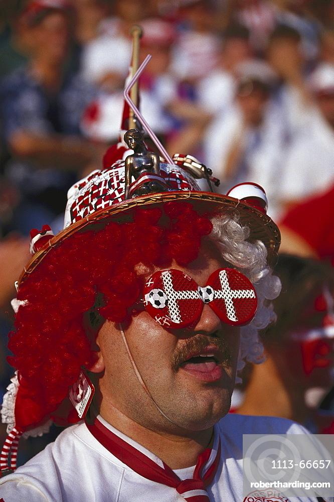 Danish football fan wearing funny glasses