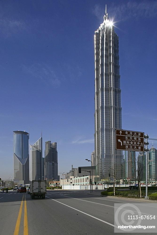 Jinmao Tower, Pudong, Center of Pudong, Lujiazui, Jin Mao Tower, 421 meter high, steel and aluminium fassade, 53rd to 87th floor, 53.-87, Grand Hyatt Hotel, Jin Mao