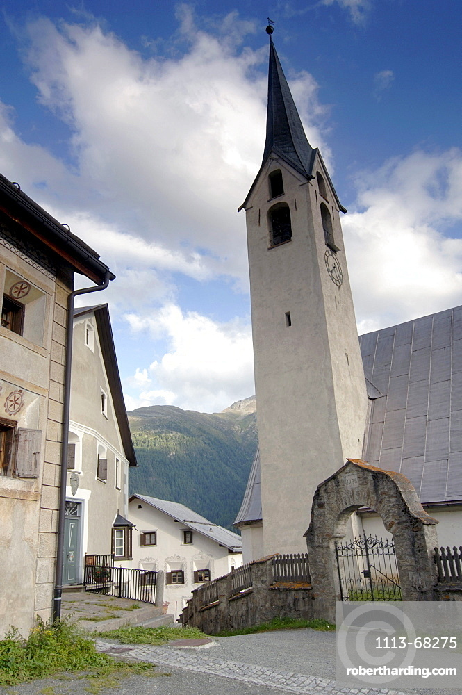 Houses and church at a mountain village, Guarda, Grisons, Switzerland