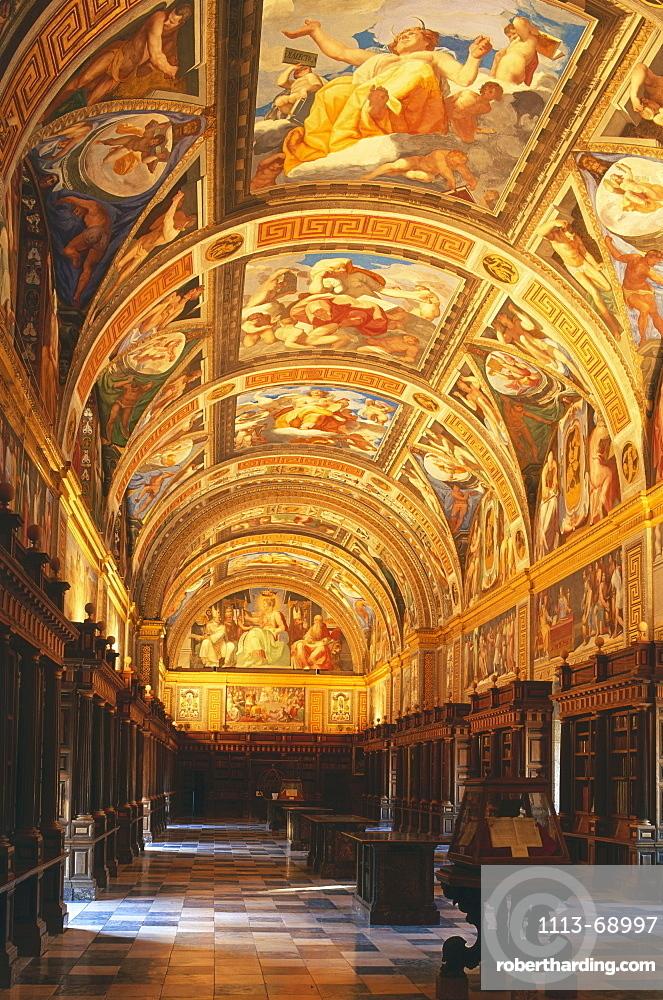 Library inside the monastery, Monasterio de El Escorial, Province Madrid, Spain