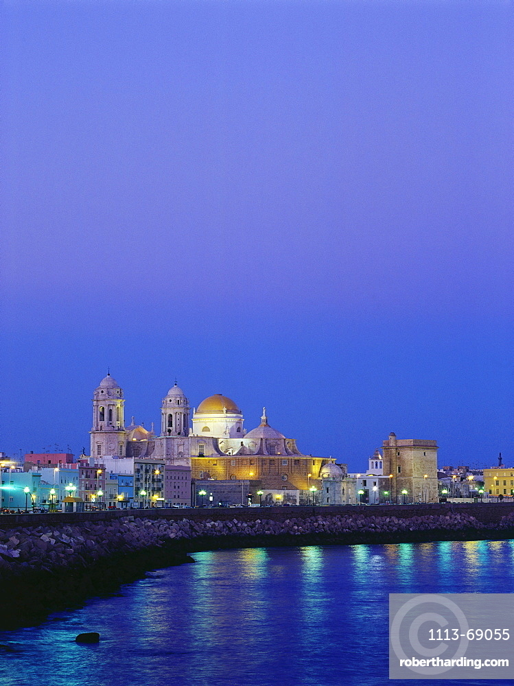 View of the town with cathedral, Cadiz, Andalusia, Spain