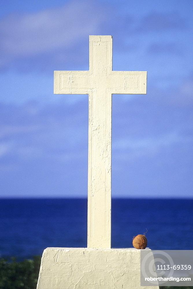 Graveyard Cross and Coconut, Avarua, Rarotonga, Cook Islands