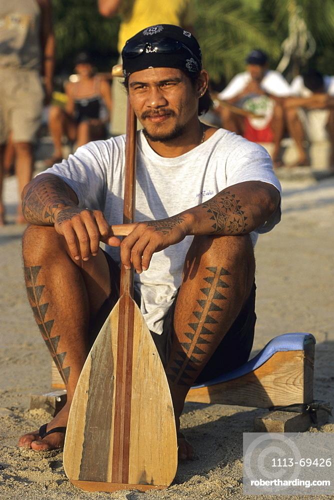 Tahitian Man with Canoe Paddle, Tahiti, French Polynesia