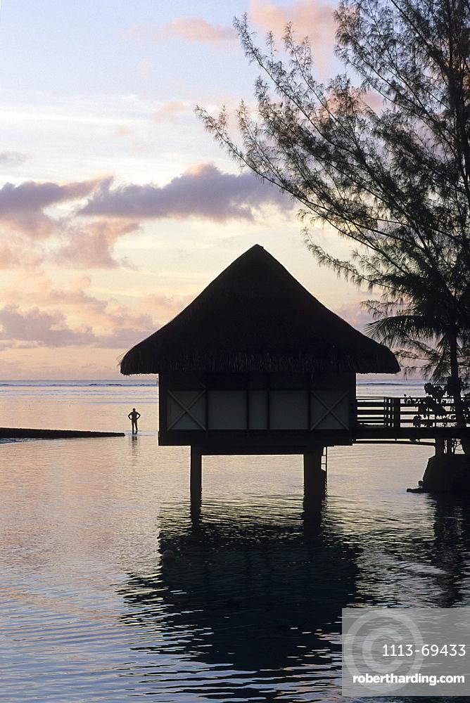 Overwater Bungalow at Dusk, InterContinental Beachcomber Resort, Moorea, French Polynesia