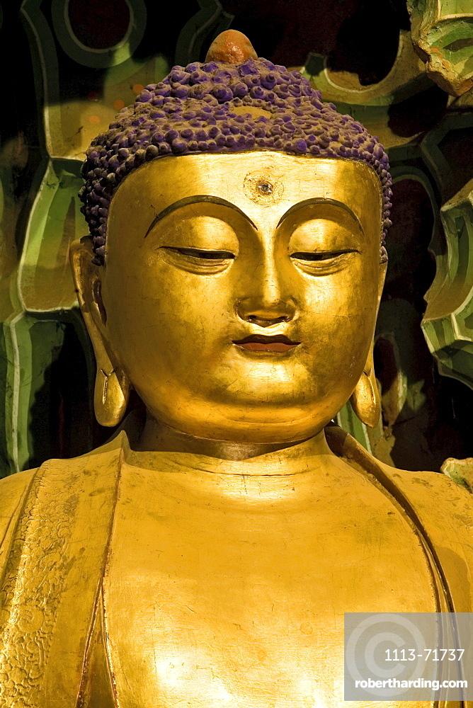 Buddha statue in Manjushri Temple, Mount Wutai, Wutai Shan, Five Terrace Mountain, Buddhist Centre, town of Taihuai, Shanxi province, China