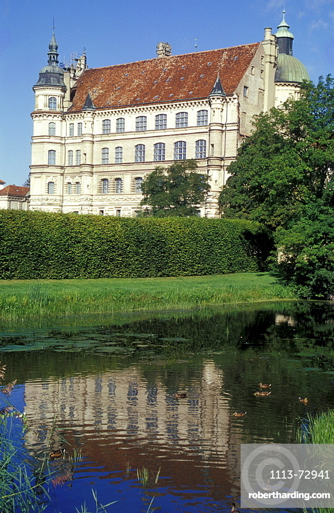 Gustrow castle and reflection, Mecklenburg-pomerania, Germany, Europe