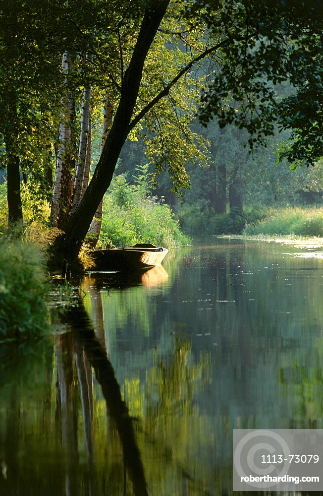 Boat on Spree River, Spreewald, Brandenburg, Germany